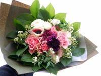 お誕生日の花束。「ピンク系」。2021/02/26。 - 札幌 花屋 meLL flowers