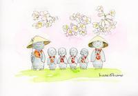 お地蔵さんと桜 - 風と雲