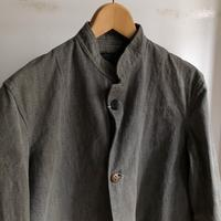 40's Italian Army Stand Collar Black Chambray Coat - DIGUPPER BLOG