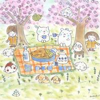 お花見 - キュイジイヌまんたローの絵日記