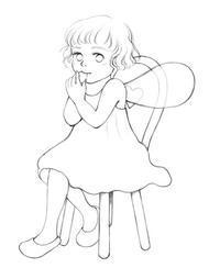 椅子に座る妖精ちゃん - 絵くぼのアトリエ