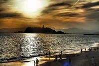 湘南の海春の夕陽 - 風の香に誘われて 風景のふぉと缶