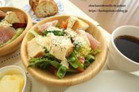 休日のブランチは、パンサラダセット&おうち飲みは、天ぷら御膳&琵琶湖の夕日 - おばちゃんとこのフーフー(夫婦)ごはん