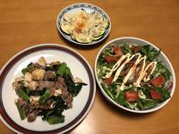 高菜と豚肉の豆腐炒めと、鯖味缶の香草サラダと、ズッキーニのしらすチーズ焼き、それにお味噌汁 - かやうにさふらふ