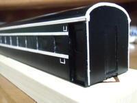 16番紙製スハ43 2輌目 その25 床板固定具、シルヘッダー、キャンバス抑え、雨樋、サボ挿し取付 - 新湘南電鐵 横濱工廠3