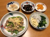 筍と絹さやの挽肉玉子とじと、小松菜の生湯葉しらすあえと、ひじき煮物と、温奴、それにお味噌汁 - かやうにさふらふ