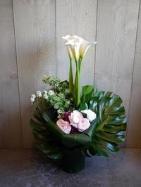 御就任のお祝いにアレンジメント。本通11にお届け①(O様ご注文分)。2021/04/01。 - 札幌 花屋 meLL flowers
