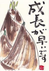 たけのこ「成長が早いです」 - ムッチャンの絵手紙日記