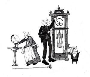 """""""柱時計に相談する使用人"""" - つめを青く塗るような"""