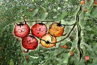 ★ミニトマトネコ兄弟が遊んでるね♪ - 羽根をつけて