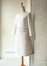2種の春ツイードのコンビワンピース - KeiFerida