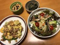 挽肉とキャベツの卵炒めと、スモークサーディンののったサラダと、蕗の葉のじゃこ炒めと、大豆昆布、それにお味噌汁 - かやうにさふらふ