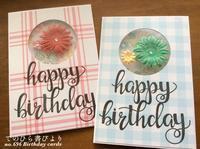 no.696 フローラ&フォーナ:ブーケスタンプ#その4丸窓花リースの誕生日カード - てのひら書びより