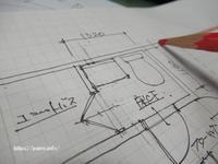 足立区某マンションリフォーム工事打ち合わせ後の図面作成中。 - 一場の写真 / 足立区リフォーム館・頑張る会社ブログ