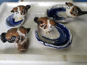 あかぎ焼、細工物陶芸スズメのお皿を創ってみました -