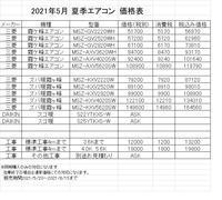 夏季エアコン価格表 - ミヤハラ冷熱のブログ