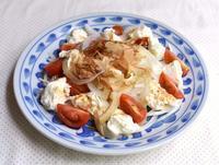 新玉ねぎとモッツァレラチーズの和風サラダ - たべる、つくる、はしる