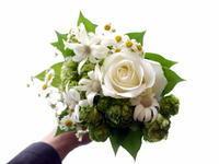 あえて遅れての母の日に花束。「白~グリーン系。マトリカリアを使って」。中の島1条にお届け。2021/05/15。 - 札幌 花屋 meLL flowers
