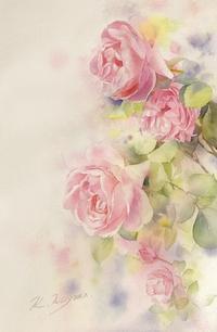 薔薇の色彩 ・・ 2 - 青山一樹 水彩画のひととき