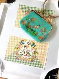 プラナカンビーズ刺繍がま口ポーチ - プラナカンビーズ刺繍  ビーズワークと旅