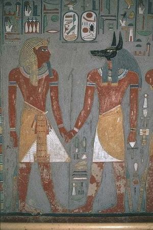 Horemheb and Anubis holding hands - PHOTO AND GREEK
