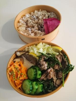 2021/6/15豚こまと人参菜の炒めもの弁当 - お弁当と春の空