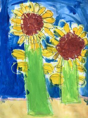 年長さんのひまわりの絵 - 東西線浦安駅徒歩2分の絵画教室「Atelier創(アトリエ・ソウ)」のブログ
