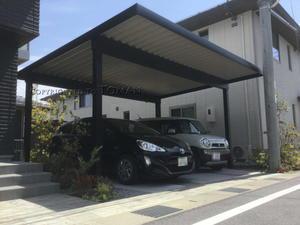 滋賀県内でカーポートG-1を施工しました。耐積雪仕様の屋根付き駐車場 -