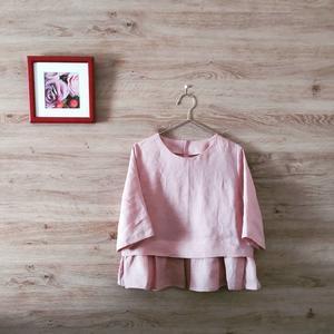 case6. リトアニアリネンで七分袖の裾フリルブラウス - julia et mimi ~刺繍と洋裁 時々日常~