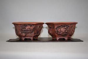 対の龍浮彫鉢 - 雨宮園 ~盆栽・山野草・陶芸~ 趣味が仕事でも・・・