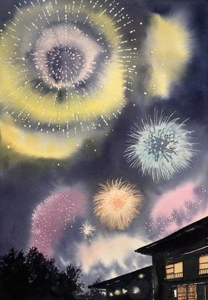 花火  水彩画 - 青山一樹 水彩画のひととき
