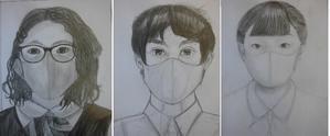 中学3年生 マスクをした自画像 鉛筆デッサン - 図工美術OKAYAMA