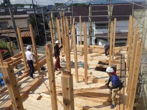 「東緑が丘の家」 建て方作業が進行中です! - 岩井沢工務所の現場日記