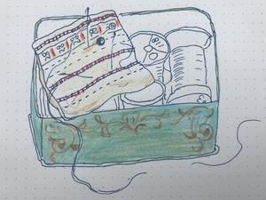 裁縫箱 - 糸巻きパレットガーデン