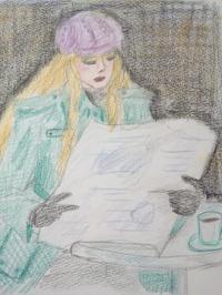 カフェで新聞を読む女性 色鉛筆画 - *乾杯の自由帳*