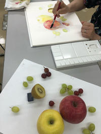 横浜朝日カルチャー 果物を描く公開講座終了しました - miwa-watercolor-garden