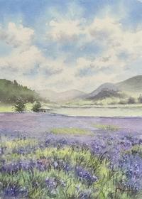 9月の課題 南富良野 かなやま湖 - まり子の水彩画