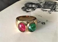 赤と緑のクリスタルのリング133 - スペイン・バルセロナ・アンティーク gyu's shop