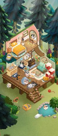 アプリゲーム「猫と秘密の森」 2 - 午睡のあと うめももさくら