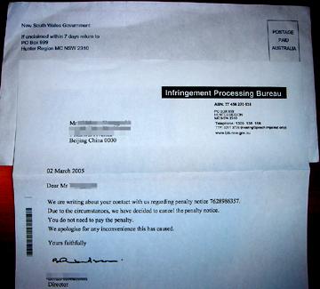 オーストラリアからのレターに少し感動~駐車違反取り消しの通知~_b0047829_053851.jpg