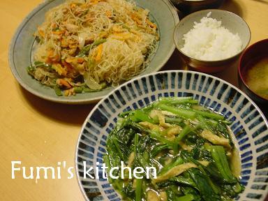 焼きビーフンと小松菜の炒め物_b0058872_170412.jpg