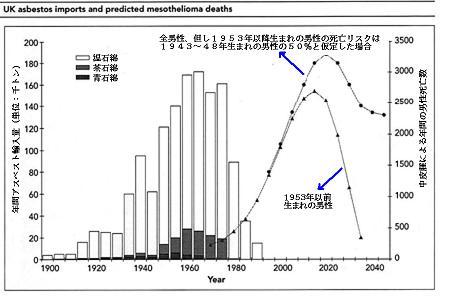 イギリスのアスベスト輸入量変化と中皮腫による死亡数予測