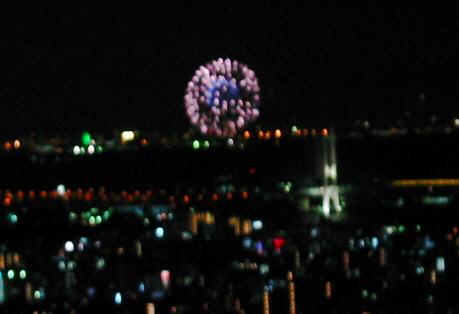かなりピンボケの写真ですが、丸く開いた打ち上げ花火が映っています。肉眼でなら綺麗に見えていることでしょう。紫色の中心にはブルーの核のようなものが見える花火です。
