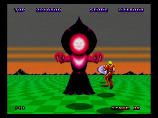 Flatwoods monster as the boss in Space Harrier