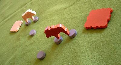 川を渡るヘラジカの図。