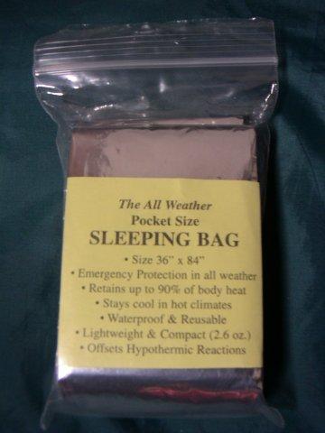 アルミ箔緊急時寝袋 / Emergency Sleeping Bag_e0024555_7365783.jpg