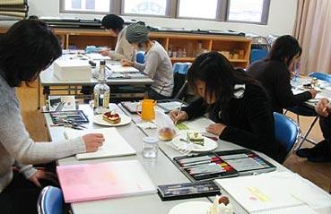 ケーキを描く(色鉛筆で描くイラスト講座/鴨島)_f0043592_22323230.jpg