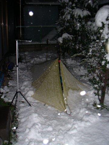 裏庭雪中キャンプ / Integral Designs SilShelter_e0024555_17523100.jpg