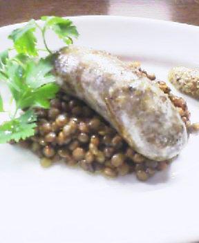 鴨の自家製サルシッチャ レンズ豆の煮込み添え_f0015360_09360.jpg