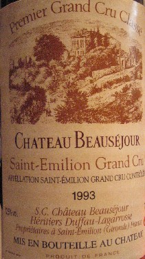 Chateau Beausejour Duffau-Lagarrosse          Premier Grand Cru Classe 1993_c0013687_192464.jpg